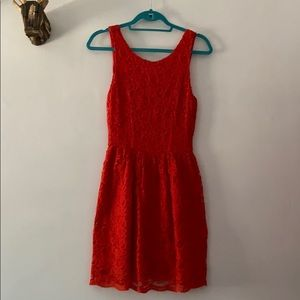 Adorable red lace summer dress